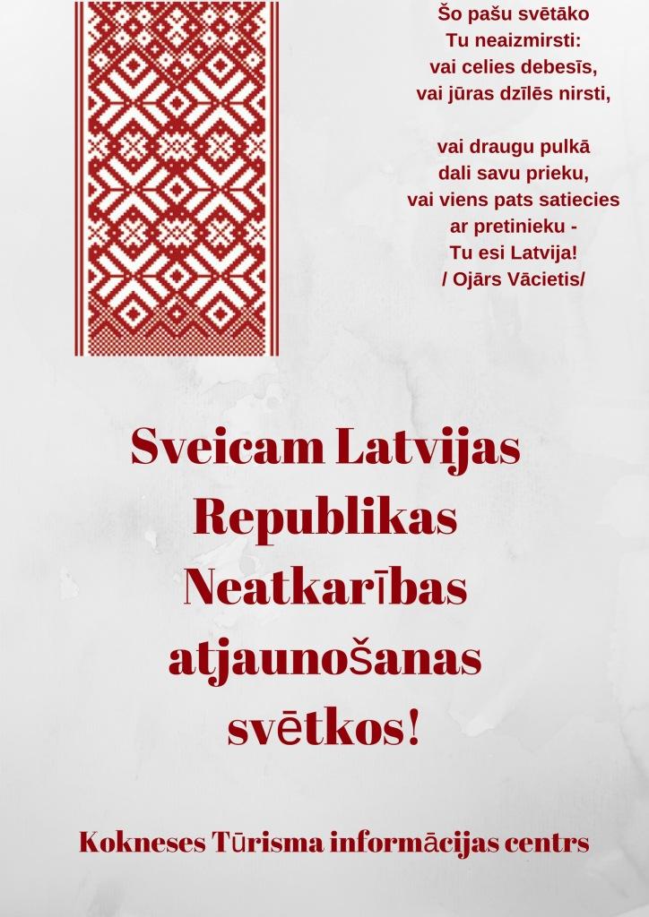 Šo pašu svētākoTu neaizmirsti_vai celies debesīs,vai jūras dzīlēs nirsti,vai draugu pulkādali savu prieku,vai viens pats satieciesar pretinieku -Tu esi Latvija!%2Fdzejoļa autors Ojārs Vācietis%2F_0.jpg